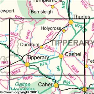 County Tipperary Ireland Map.County Tipperary